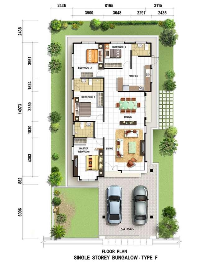 Casa impian alya single storey bungalow bungalow for Single storey bungalow floor plan