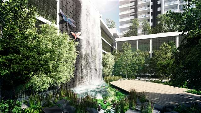 Outstanding feature of a 4-storey waterfall