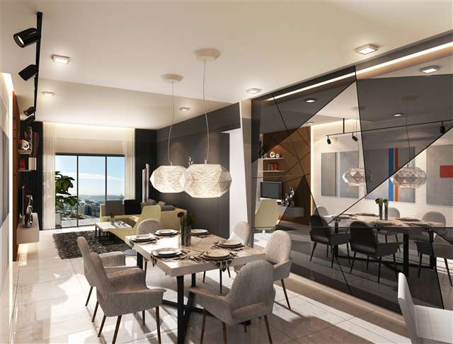 Contemporary design-dining and living area